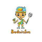 Cartoon Girl Badminton player