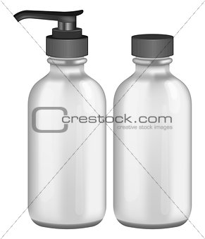 Grey cosmetic bottles