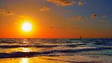 Golden magnificent seascape.