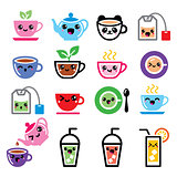 Kawaii tea, tea pot, ice tea cute characters