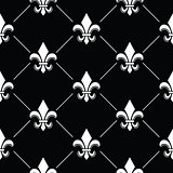 French Damask background - Fleur de lis black white pattern on black