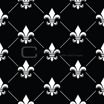 French Damask background - Fleur de lis black white pattern on black