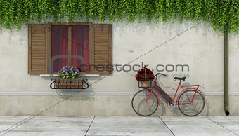 Country house with window and bicycle