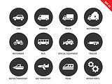 Transport icons on white background