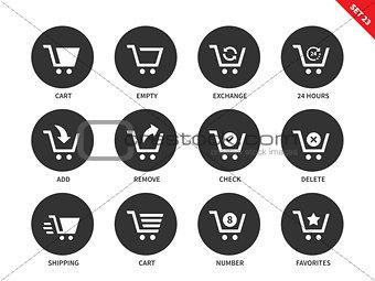 Cart icons on white background