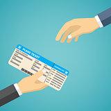 Businessman Receiving Boarding Pass at Airport.