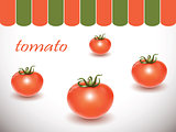 Red fresh tomatoes on white background.