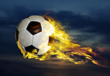 flying fiery soccer ball