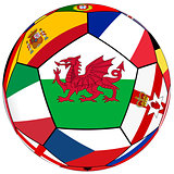 Ball with flag of Wales in the center - vector