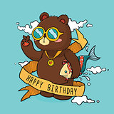 Hand Drawn Cool Bear Birthday Greeting Card