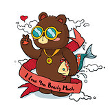 Hand drawn Cool Bear with Ribbon Greeting Card