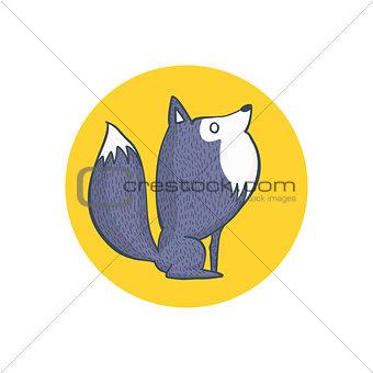 Gray Wolf and Full Moon Cartoon Character