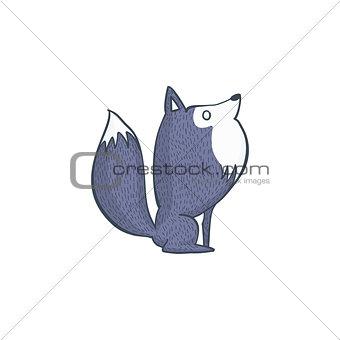 Gray Wolf Cartoon Character