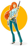 Cartoon pretty detective girl with gun