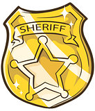 Cartoon golden sheriffs badge