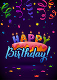 Happy Birthday Greeting Card. Cake with candles. Hand Lettering - handmade calligraphy, vector design