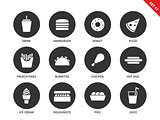Fast food icons on white background