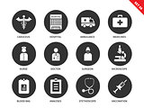 Hospital icons on white background