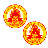hot sale and deal on fire, yellow and red drawn round labels wit