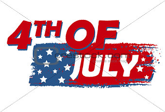 4th of July with stars over drawing flag - USA American Independ