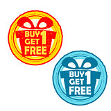 buy one get one free with gift signs, yellow red and blue drawn