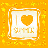 I love summer with signs in square frame, yellow drawn label
