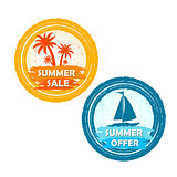 summer sale and offer with palms and boat signs, round drawn lab
