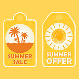 summer sale and offer with palms and sun signs, yellow drawn lab