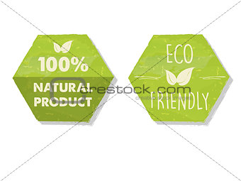 100 percent natural and eco friendly with leaf sign in green hex