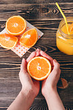Orange, Lobule, Juice. Healthy Lifestyle Concept