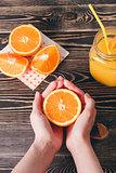 Orange, Lobule, Juice. Healthy Lifestyle Concept