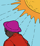 Man in Purple Hat Under Sun