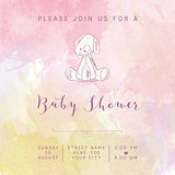 watercolor baby girl shower card with retro toy