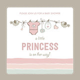 shabby chic baby girl shower card