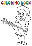 Coloring book girl guitar player theme 1
