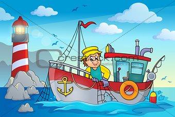 Fishing boat theme image 2