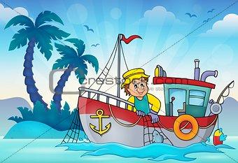 Fishing boat theme image 3
