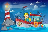 Fishing boat theme image 4