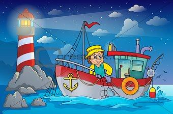 Fishing boat theme image 4