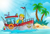 Fishing boat theme image 5