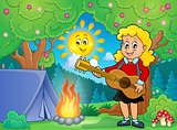 Girl guitar player in campsite theme 1