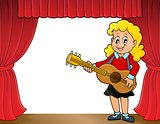Girl guitar player on stage theme 1