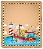 Parchment with fishing boat theme 2
