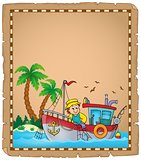 Parchment with fishing boat theme 3