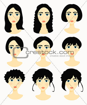 faces of women, girls hairstyles natural. vector illustration