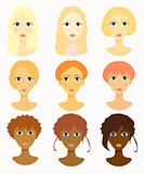 faces of women, girls hairstyles race. vector illustration