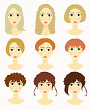 faces of women, girls hairstyles. vector illustration