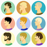 male avatar guys on a colored. vector illustration