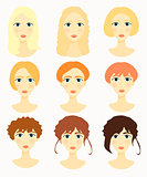 Women face, girls colored hair vector illustration