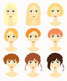 Women face, girls colored hair vector illustration
